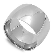 Men's Women's Wide Ring Unique Stainless Steel Wedding Band New 15mm Sizes 5-18