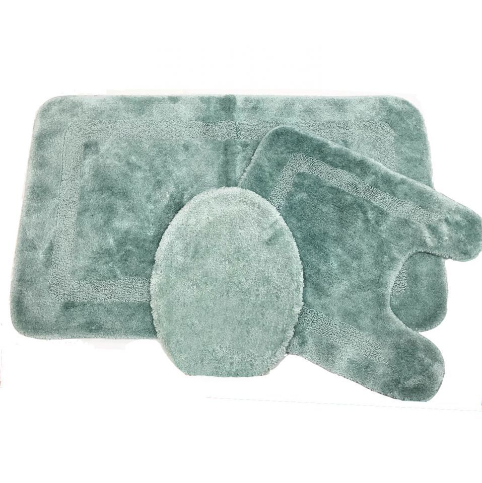 NEW USA Made Facet Aqua Blue Bath Rug Set