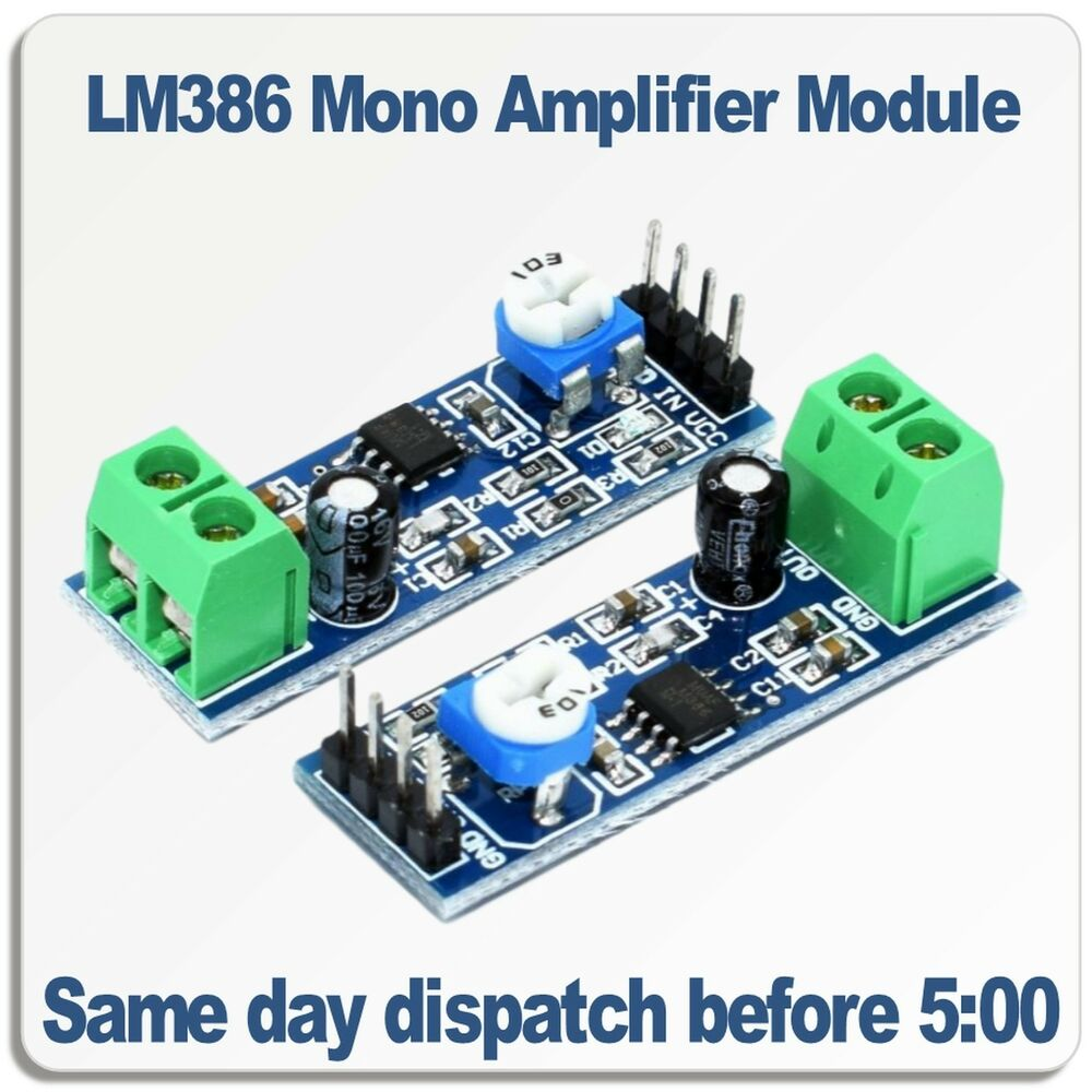 Lm386 Mono Audio Amplifier Module 5v 12v Dc 200 Times Adjustable Circuit With Pcb Output Ebay