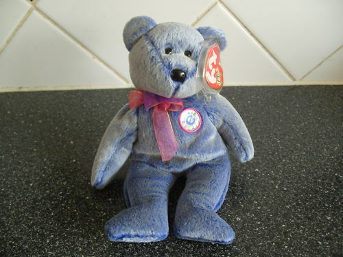 07d40608195 Details about TY BEANIE BABY BEAR PERIWINKLE THE E - BEANIE - MINT - RETIRED