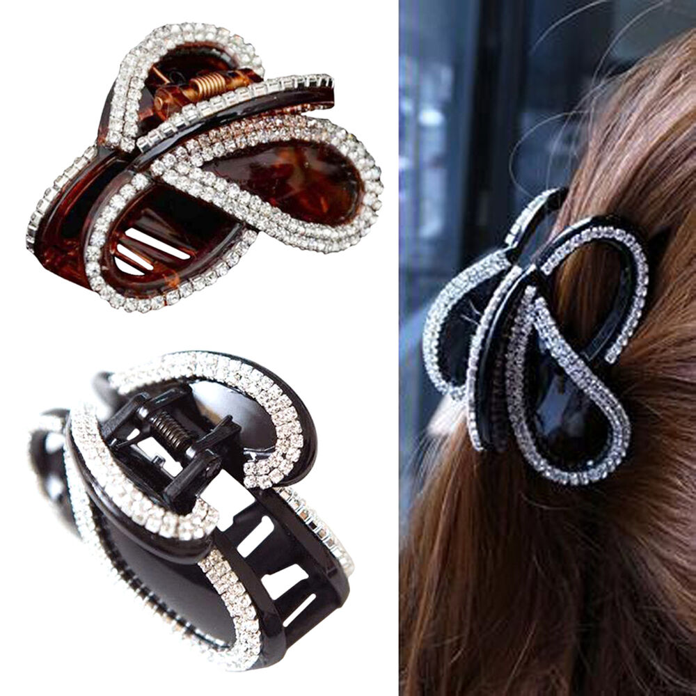 Details about Women Rhinestone Butterfly Hair Clip Barrette Crab Clamp  Hairpin Claw Headband 879d959f858