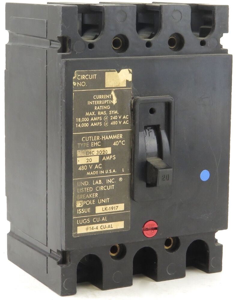 used cutler hammer ehc3020 molded case circuit breaker 3 pole 20 amp0000 Circuit Breaker Is The Push In Style Replacement Circuit Breaker #10