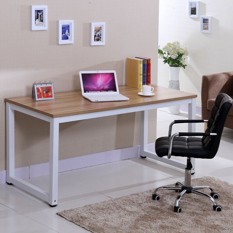 Uk Wooden Metal Home Office Desk Corner Computer Pc Writing Table Workstation