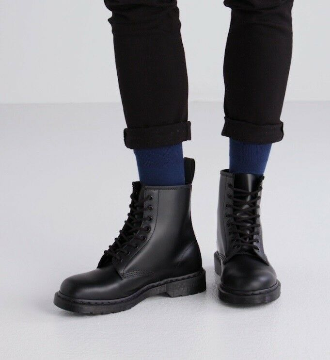 15278edf70c34b Details about NEW Dr. Martens Men s 1460 Mono 8-Eye Gothic Black Smooth  Leather Boot Shoes