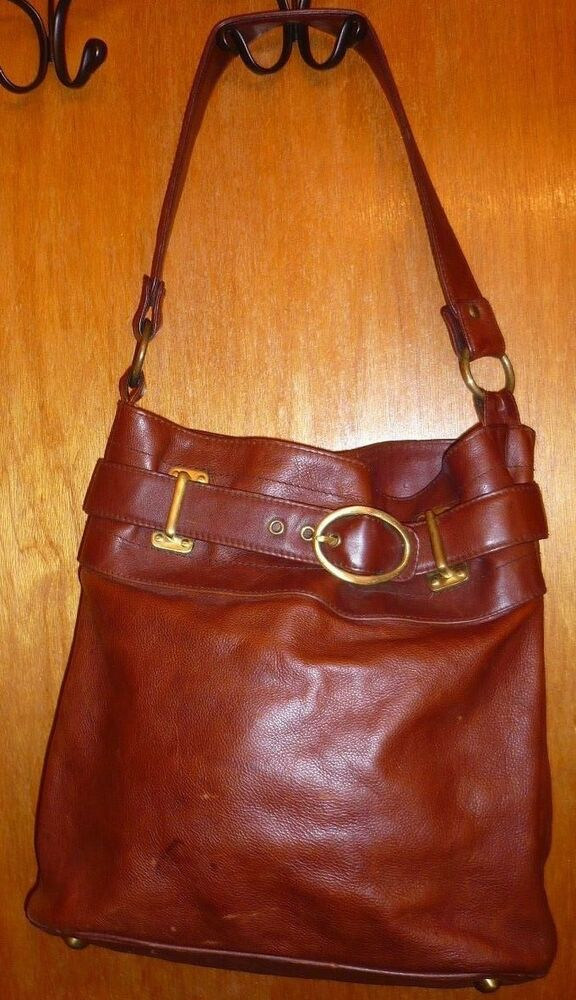 2054a59ced Details about Massimo Dutti Large Rugged Distressed Brown Leather Satchel  Hobo Shoulder Bag