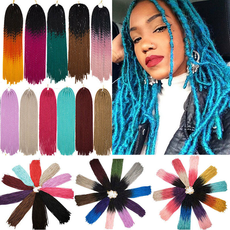 Long Faux Locs Crochet Braids Hair Extensions Ombre Twist Yarn ...