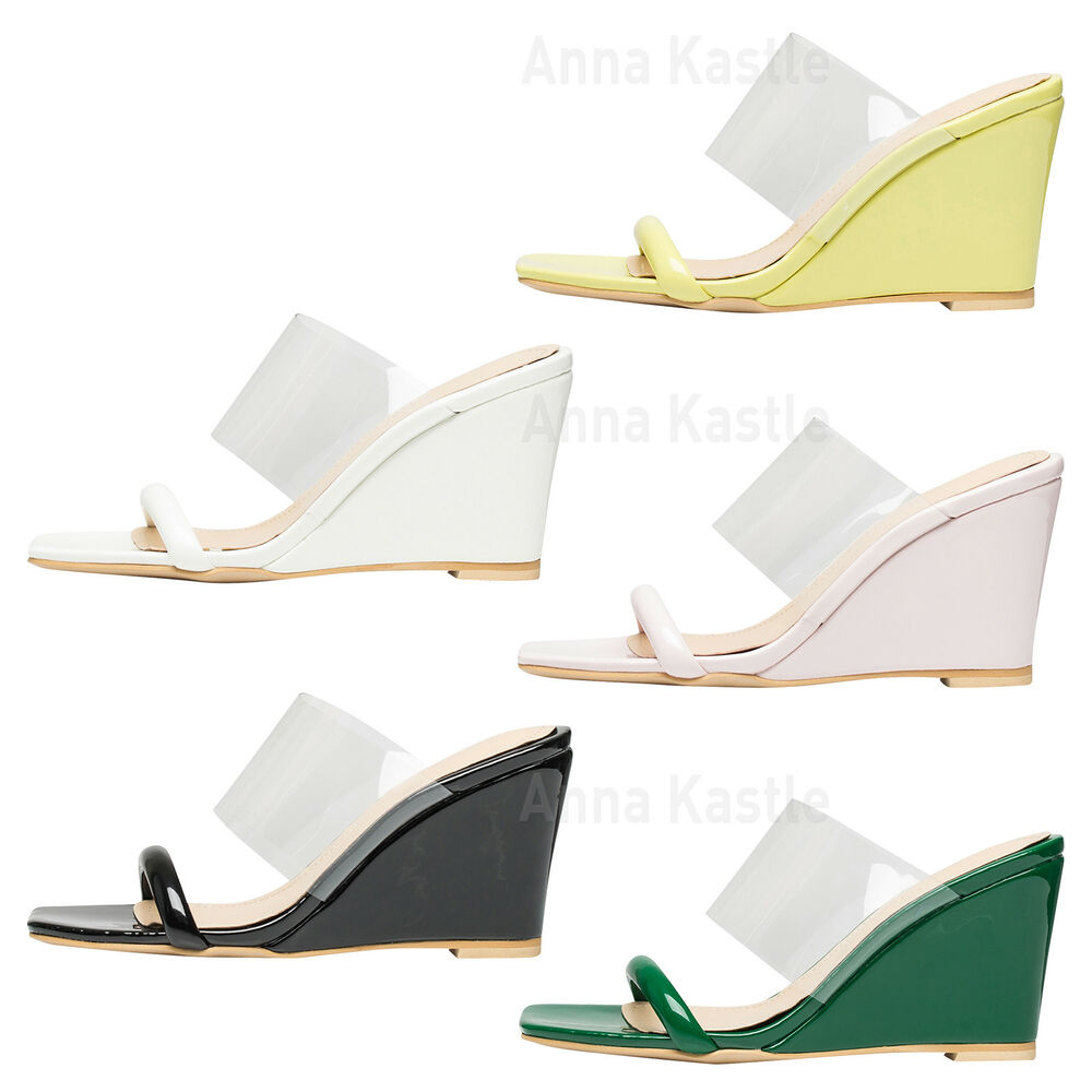 e3f64b37f02 Details about AnnaKastle Womens Transparent Clear Strap Wedge Heel Mule  Sandals