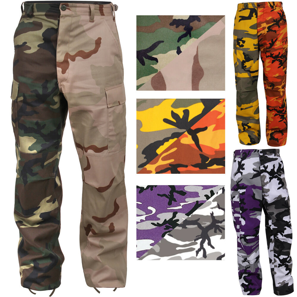 5d682ec989c5 Details about Two Tone Camo Cargo Pants Military Fashion BDU Army Fatigues  6-Pocket Uniform