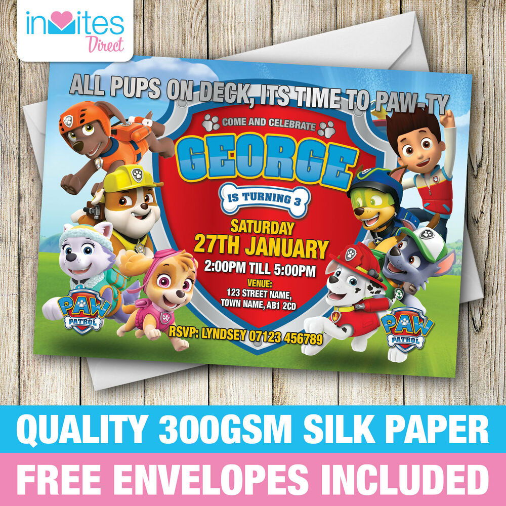 Details About Personalised Paw Patrol Birthday Party Invitations