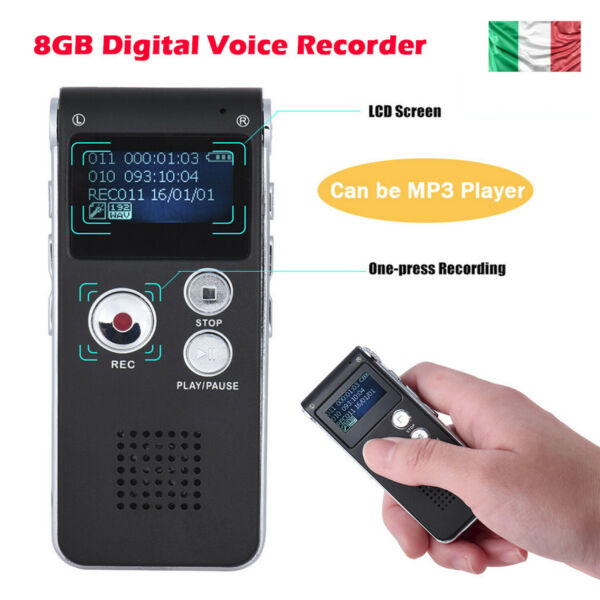 8 GB Registratore Audio Vocale Portatile Mp3 Musica USB Digitale Voice Recorder