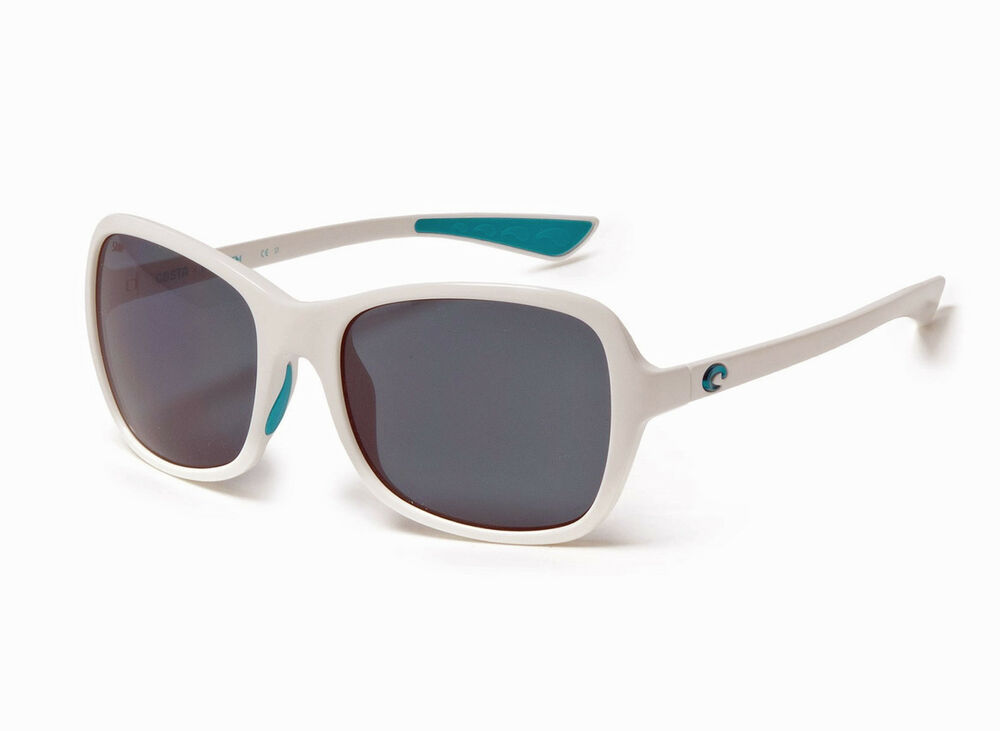 b8108ef2fb4c6 Details about New  169 Costa Del Mar Kare Ocearch Polarized Sport  Sunglasses White Gray 580P