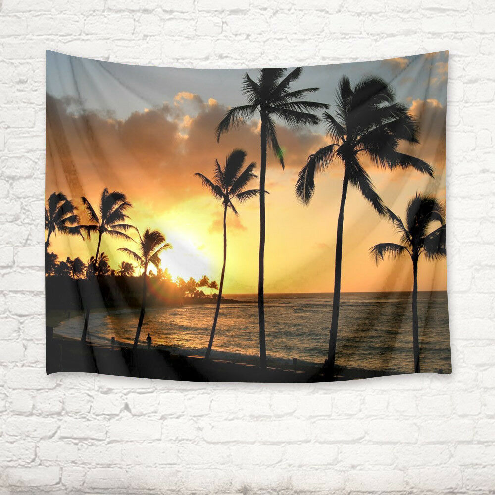 Sunset Tropical Beach Palm Tree Tapestry Wall Hanging Living Room ...
