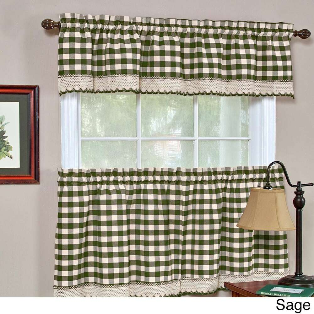 Green And White Kitchen Curtains: Achim Buffalo Check Sage Green And White Gingham