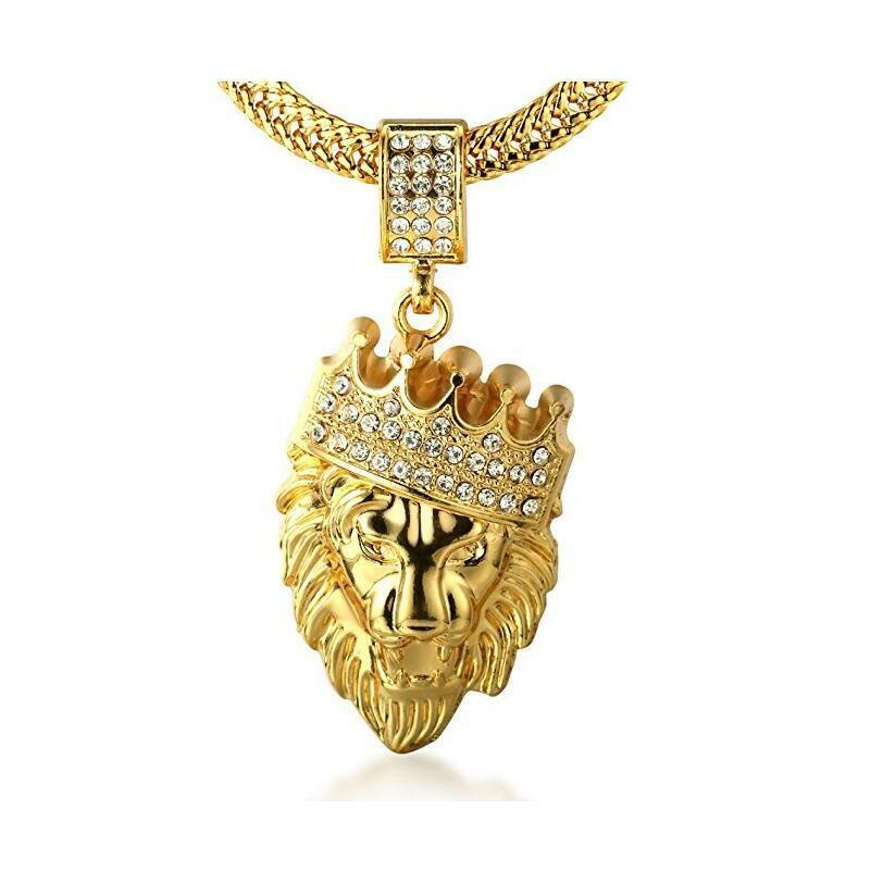 Mens jewelry 18k gold plated crown lion pendant necklace chain 30 mens 18k gold plated crown lion pendant necklace with free sharktail chain 30 aloadofball Choice Image