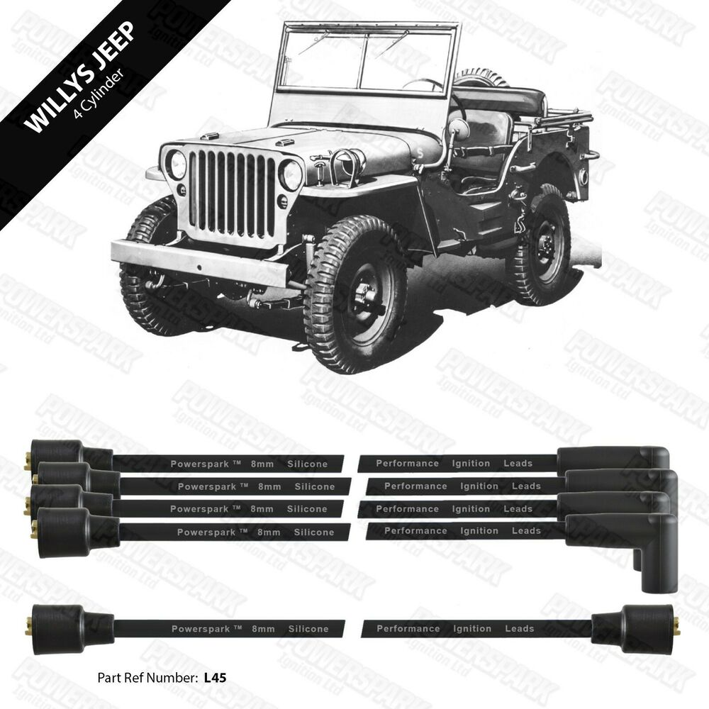 Willys Jeep 8mm Double Silicone Performance Ht Leads Black Ebay Distributor Wiring