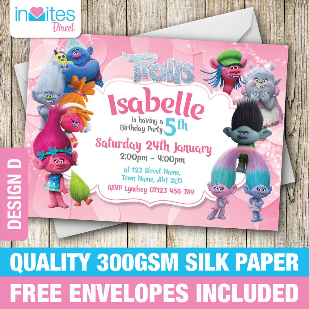 Details About Trolls Birthday Party Invitations