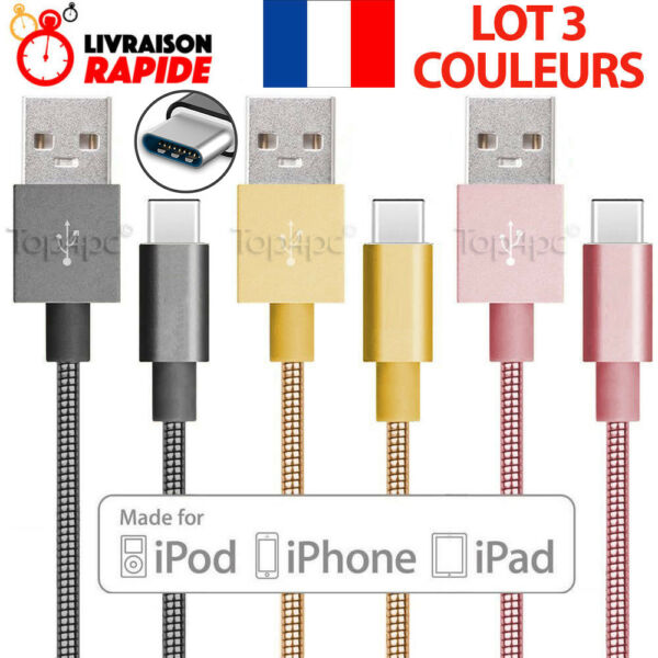 CABLE USB TYPE-C CHARGEUR POUR SAMSUNG GALAXY S8 S9 PLUS NOTE 8 RENFORCE METAL