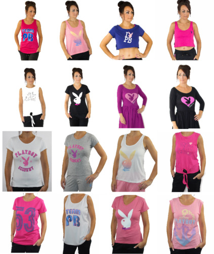 Womens Playboy Tops T-shirts Vests Dresses Ladies UK Size 6 8 10 12 14 16 18 New