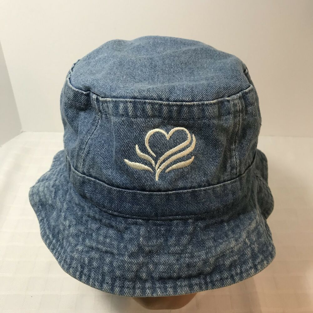 9b5286bb63baf Details about Denim Jean Bucket Cap Hat Toppers Hong Kong Embroidered Heart  Flower Vintage