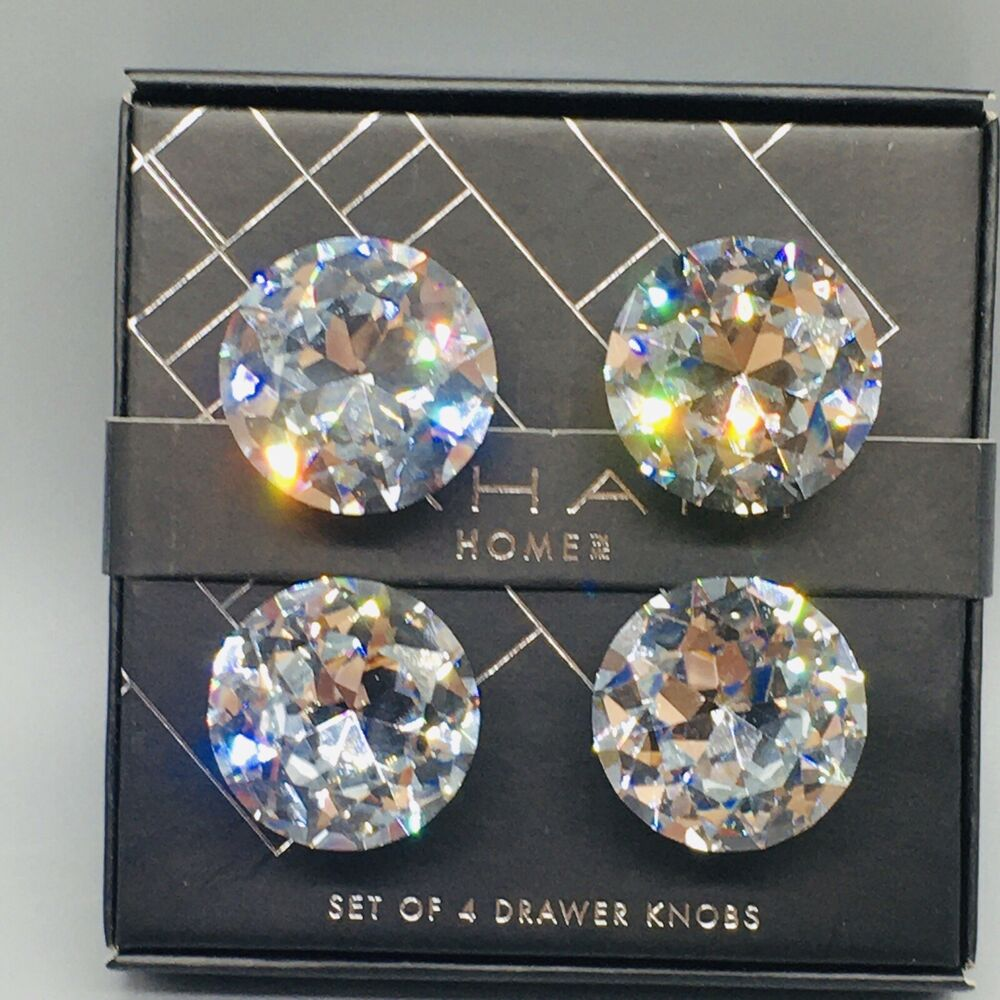 High Quality Details About 4 Faceted Round Crystal Drawer Knob Set Cabinet Door Pull  Diamond Cut Tahari NEW