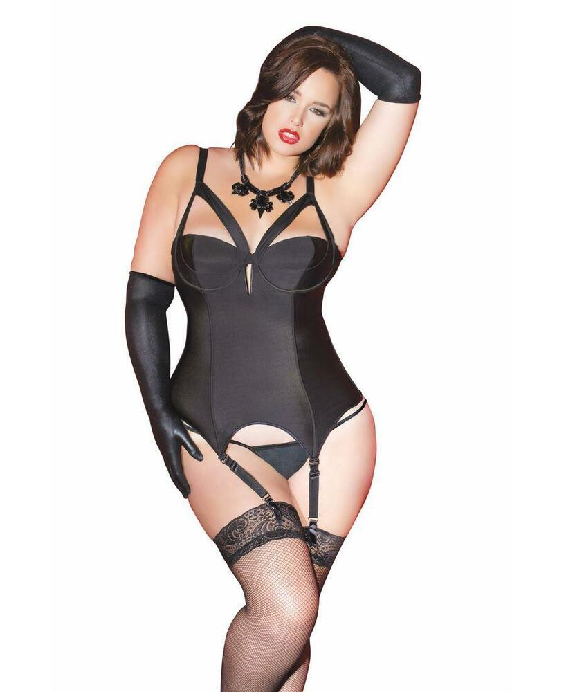 Details about Plus Size Strappy Demi Cup Bustier - Coquette 7063X f71af3928