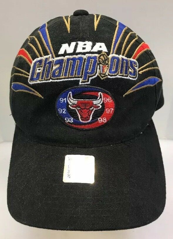 best sneakers 0ccc6 a71e8 Details about Starter Chicago Bulls 1998 NBA Champions Cap StrapBack Hat 6X  6 Black Men OSFA