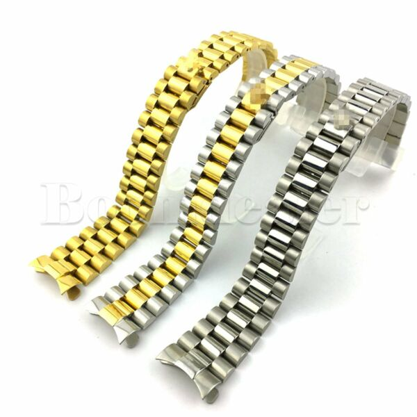 20mm Watch Band Strap President Bracelet Two Tone Solid Curved End Link Steel