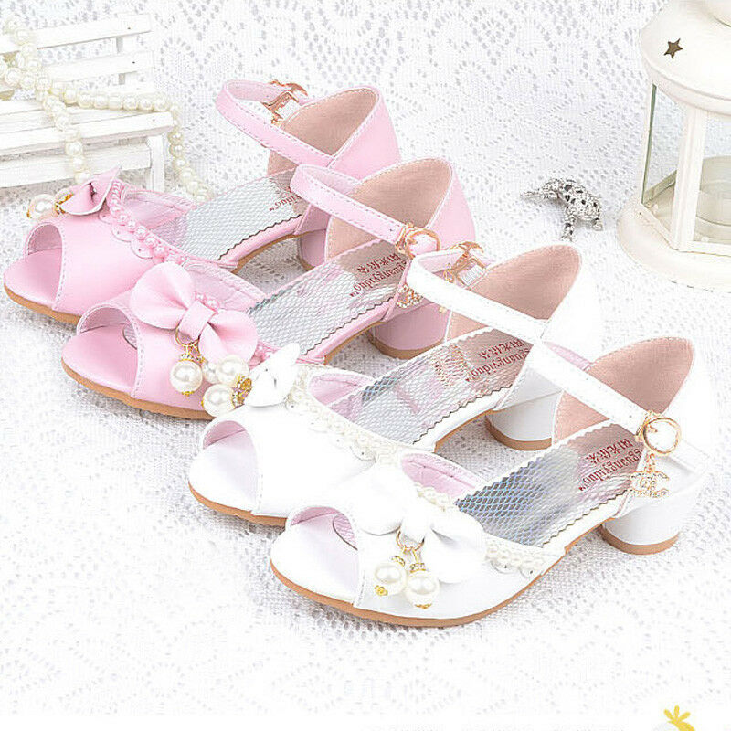 6c268fb49b9 Details about Summer Baby Kids Girls Sandals High Heels Wedding Princess  Bow Party Pearl Shoes