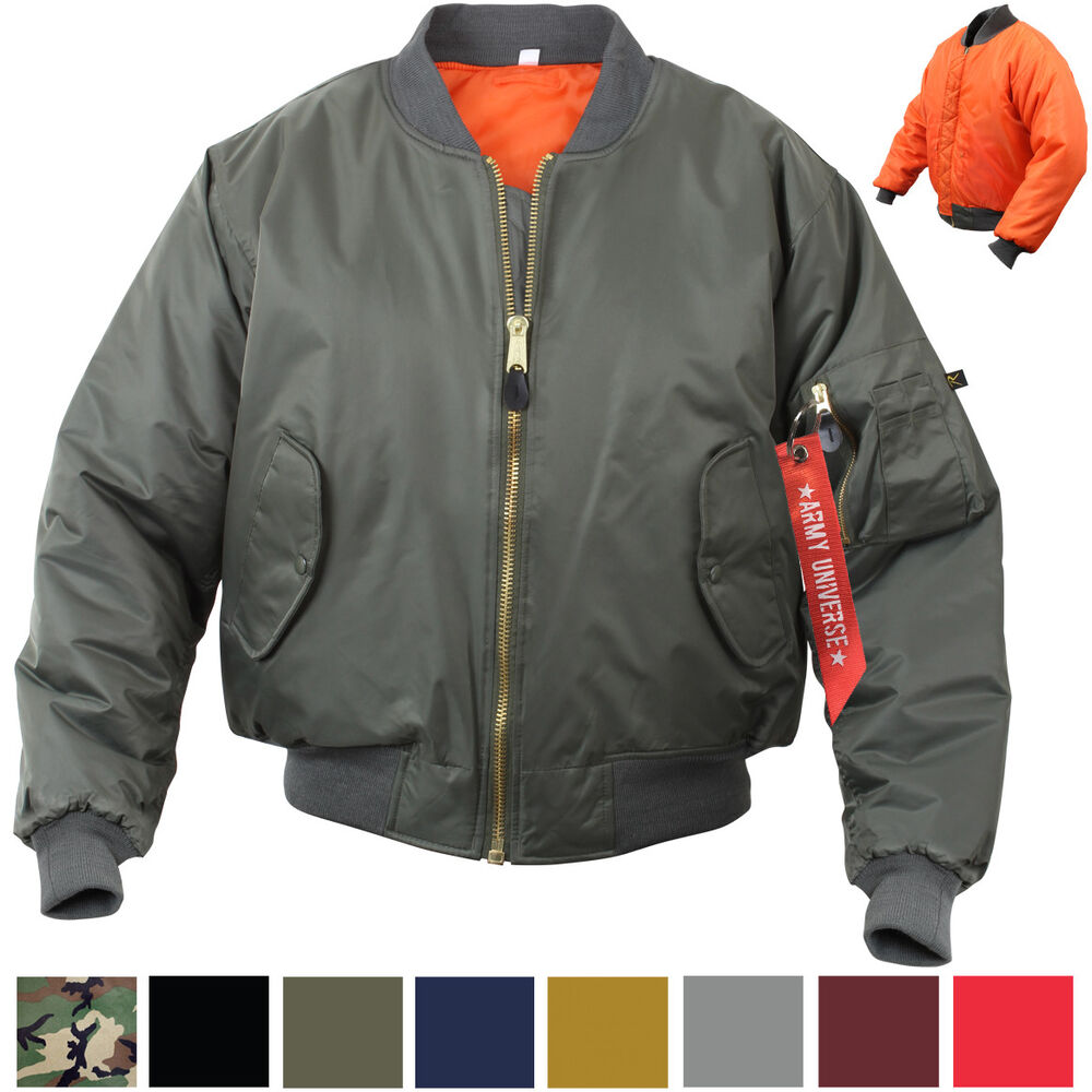 Details about MA-1 Flight Jacket Military Bomber Coat Reversible Orange MA1  Army Air Force ed5f8cdcae0