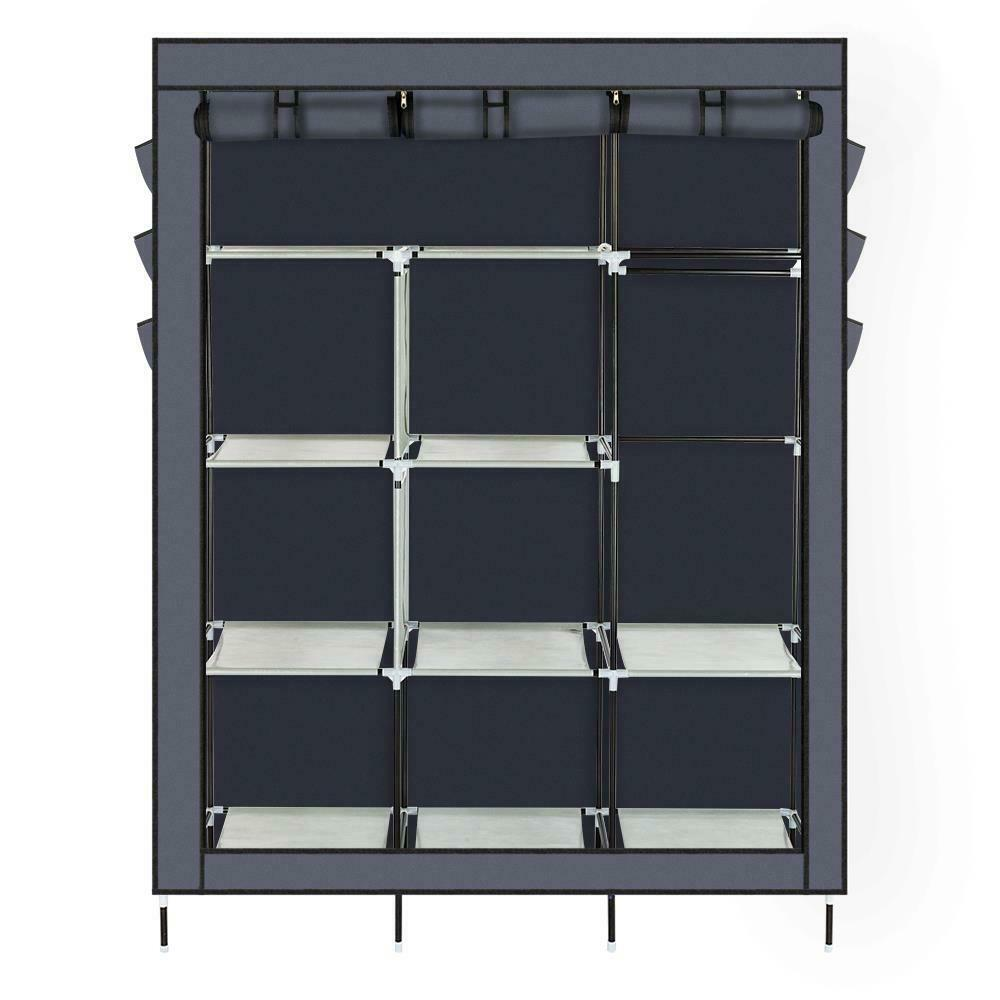 Details About Heavy Duty Portable Closet Storage Organizer Wardrobe Clothes Rack Shelves Gray