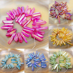 Kyпить Natural Quartz Crystal Druzy Freeform Stick Pointed Beads 8