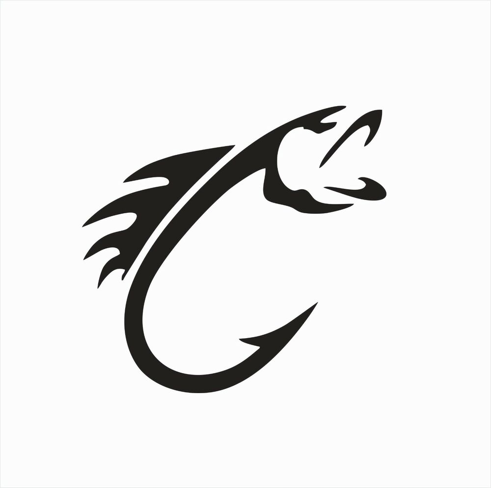 Details about fish fishing hook animal vinyl die cut car decal sticker free shipping