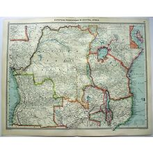 Original Map of European Possessions in Central Africa c1906 by George Philip
