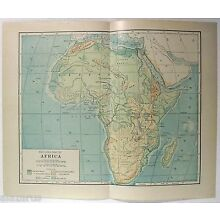 Original 1914 Physical Map of Africa by L. L. Poates