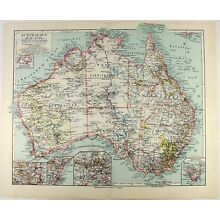 Original 1926 Map of Australia by Meyers