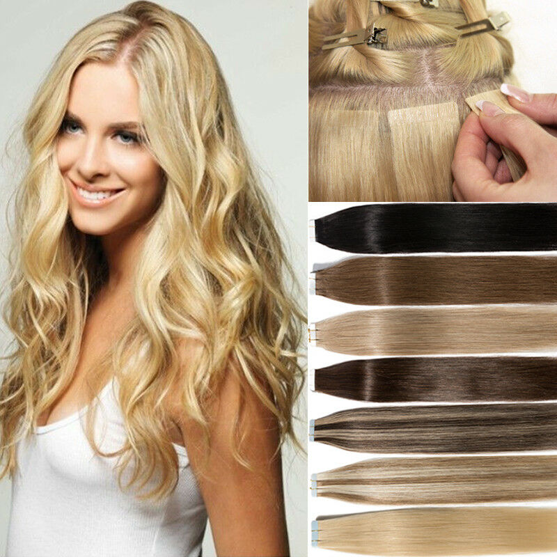 100g Tape In Thick Glue 100 Remy Human Hair Extensions Full Head 16