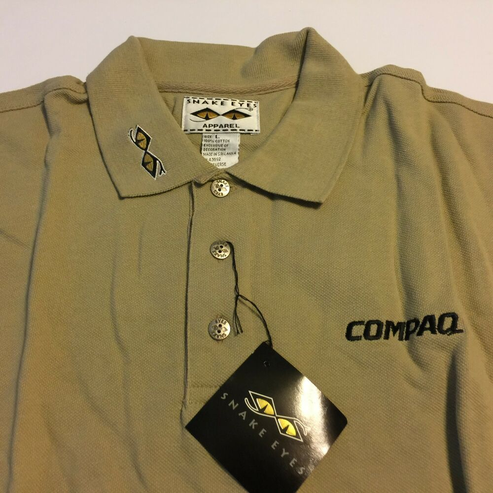 Nwt Nos Compaq Polo Khaki Ss Shirt Employee Snake Eyes Men S Large