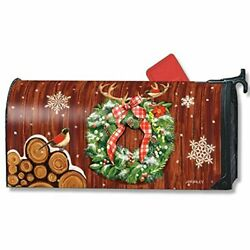 MailWraps - Oversized Mailbox Cover - Cozy Cabin Wreath