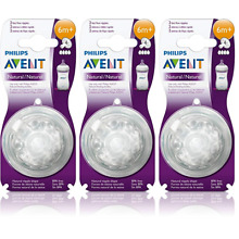 Philips AVENT BPA Free Natural Nipple Shape, Fast Flow 6m+, 2 Count (3 Pack)