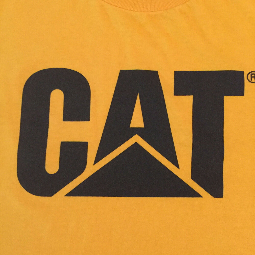 Details about cat caterpillar logo short sleeve graphic t tee shirt medium licensed yellow