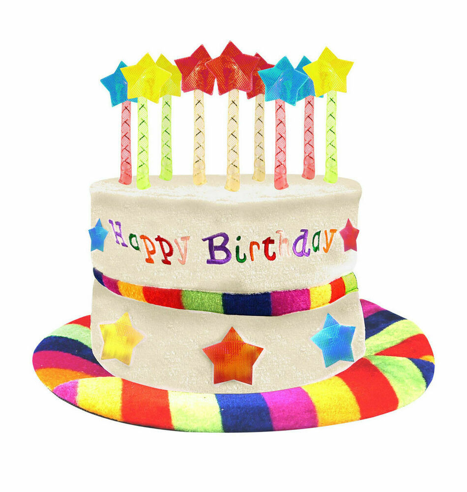 Happy Birthday Cake Rainbow Hat With 9 Candles Fancy Dress Party