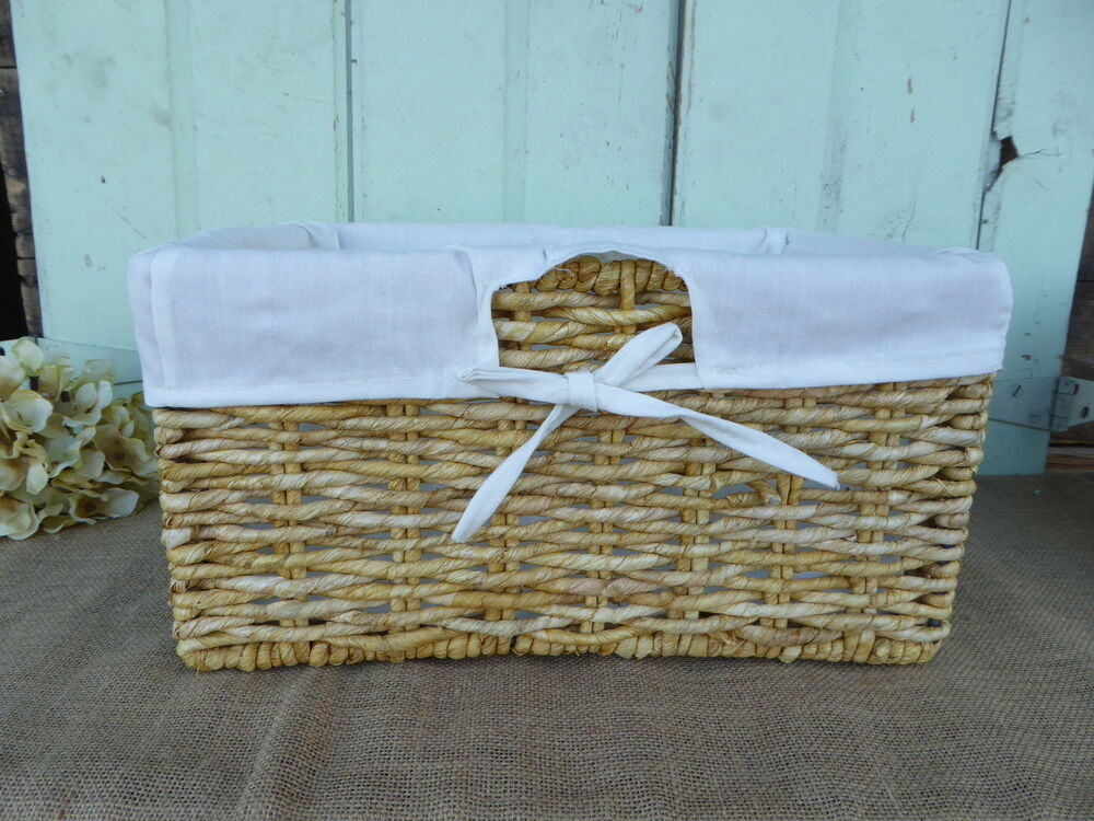 Small SEAGRASS LIGHT BROWN CORN LINED SHELF BASKET w/ White Lining ...
