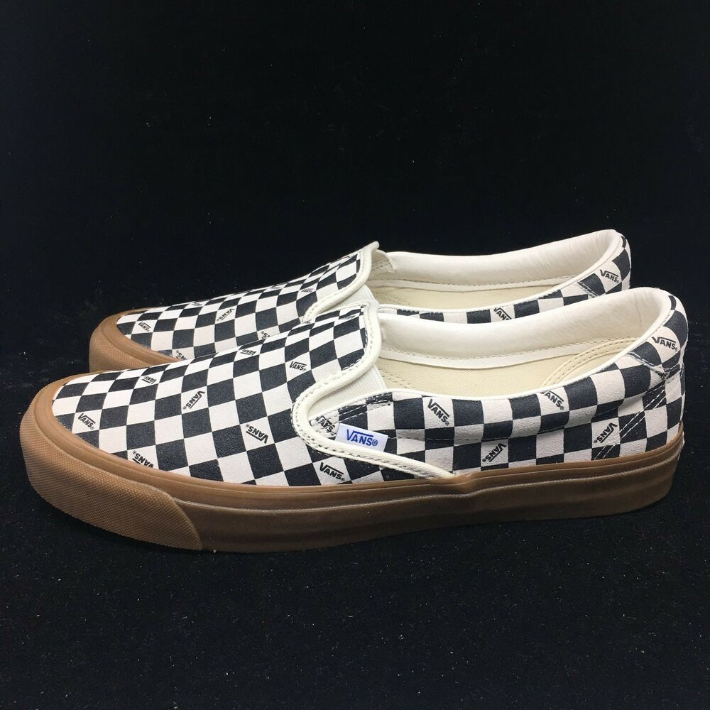 bc970a7f382 Vans Vault OG Classic Slip-On 59 LX Checkerboard Black White Suede  VN0A38FZQM6