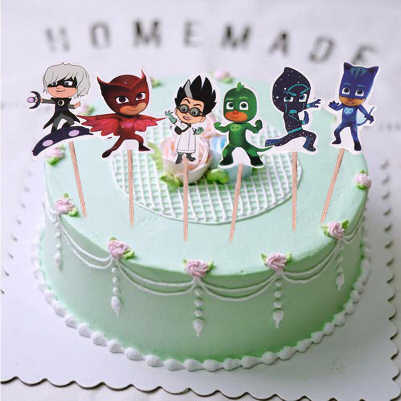 Details About 24x PJ Mask Cake Picks Topper Decorating Candle Birthday Party Supplies DIY