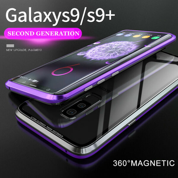 For Samsung Galaxy S8 S9 S10 Magnetic Adsorption Metal Case Tempered Glass Cover