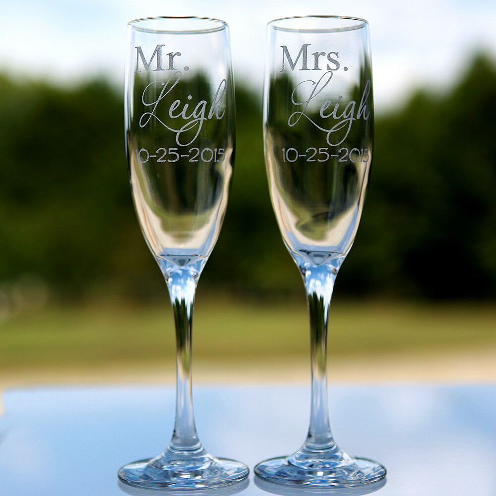 2 Etched Engraved Personalized Mr. And Mrs. Champagne