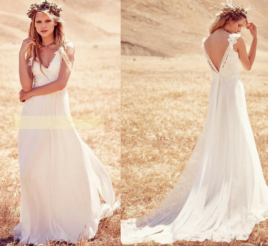 Gallery Bohemian Wedding Dresses: Lace Beach Bohemian Boho Country Wedding Dress Bridal Gown