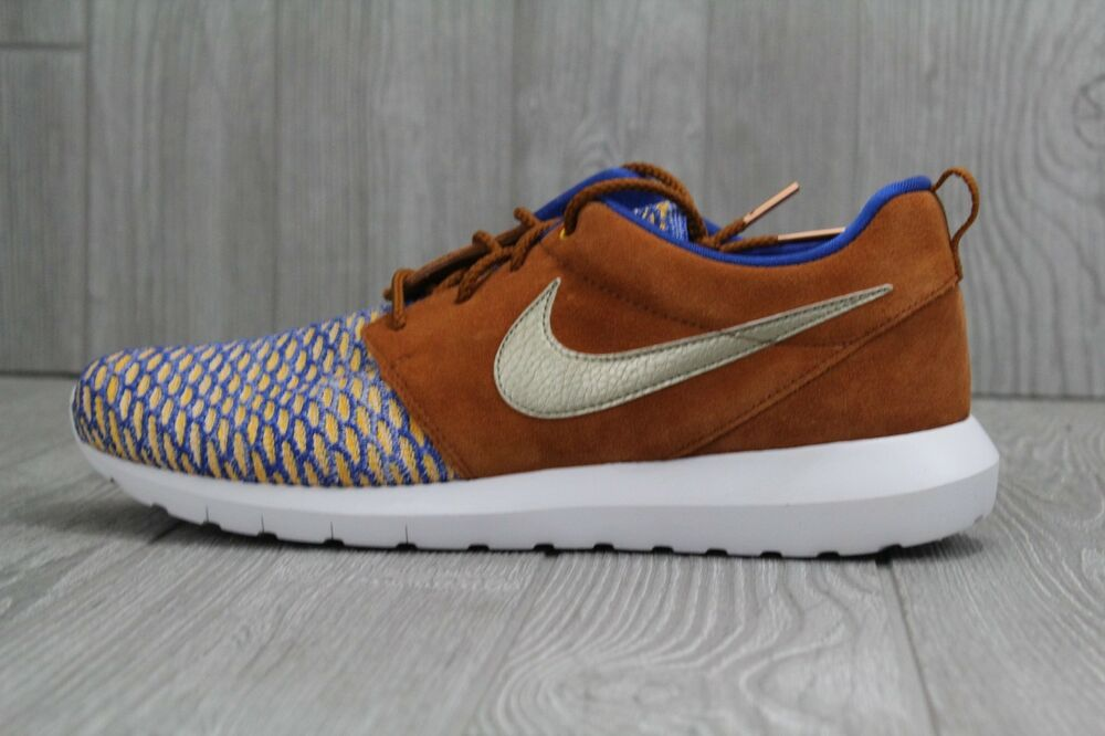 fc5abd29d0e2b Details about 32 New Nike Roshe NM Flyknit Premium Game Shoes Men s 11 Blue  Gold 746825-402