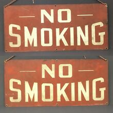 Antique Vtg No Smoking Double Sided Stonehouse Denver Red Metal Sign 20