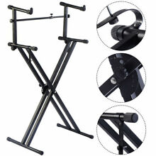 Pro 2-Tier X Style Dual Keyboard Stand Adjustable Electronic Piano Double